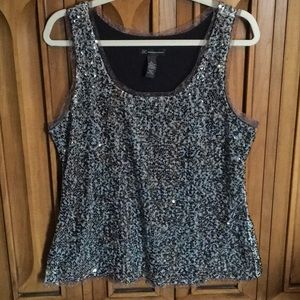 INC Multi Sequined Tank Camisole Black Crown Teal